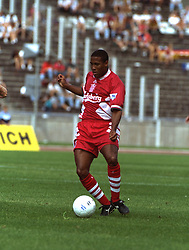 BERLIN, GERMANY - Sunday, August 7, 1994: Liverpool's John Barnes during a preseason friendly between Hertha BSC Berlin and Liverpool FC at the Olympiastadion. Liverpool won 3-0. (Pic by David Rawcliffe/Propaganda)