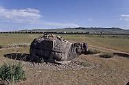 Mongolia. Karakorum, stone turtle   Erden Zuu     /   Porte-stèle monolithe en forme de tortue, près de ERDENI ZUU (XVIème siècle). De style chinois, cette sculpture de tortue en granit, l'une des quatres que l'on peut voir sur le site, represente le symbole de la longevite. Sur son dos, une large encoche destinee à recevoir une stèle gravee, aujourd'hui disparue, qui donnait aux voyageurs des indications sur les lieux qu'ils traversaient. Bien conserves, ces monolithes reçoivent maintenant sur leur dos, des cailloux en offrande, lances ou poses par le visiteur de passage, comme pour un oboo. En arrière-plan, la muraille aux 108 stupas de ERDENI ZUU. (QARAQORIN/   /44    L920729e  /  P0002649