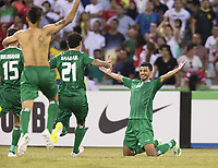Fotball<br /> Asia Cup / Asiamesterskapet<br /> 23.01.2015<br /> Iran v Irak<br /> Kvartfinale<br /> Foto: imago/Digitalsport<br /> NORWAY ONLY<br /> <br /> Salam Shakir (14) of Iraq waits for his teammates to run into his arms after scoring the winning goal in a shootout against Iran in the FIFA Asian Football Confederation 2015 Asian Cup quarter-final game played in Canberra Stadium, Canberra, Australia