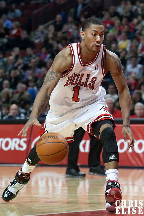 21 December 2009: Chicago Bulls guard Derrick Rose dribbles during the Sacramento Kings 102-98 victory over the Chicago Bulls at the United Center, in Chicago, Illinois, USA.