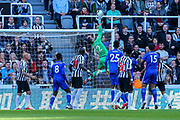 Martin Dubravka (#12) of Newcastle United tips the ball over his own crossbar during the Premier League match between Newcastle United and Leicester City at St. James's Park, Newcastle, England on 29 September 2018.