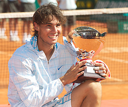 MONTE-CARLO, MONACO - Sunday, April 18, 2010: Rafael Nadal (ESP) with the trophy after winning the the Men's Singles Final on day seven of the ATP Masters Series Monte-Carlo at the Monte-Carlo Country Club. This was Nadal's sixth straight victory in the tournament, setting a record for the most Masters Series consecutive victories at a single tournament by any player. (Photo by David Rawcliffe/Propaganda)