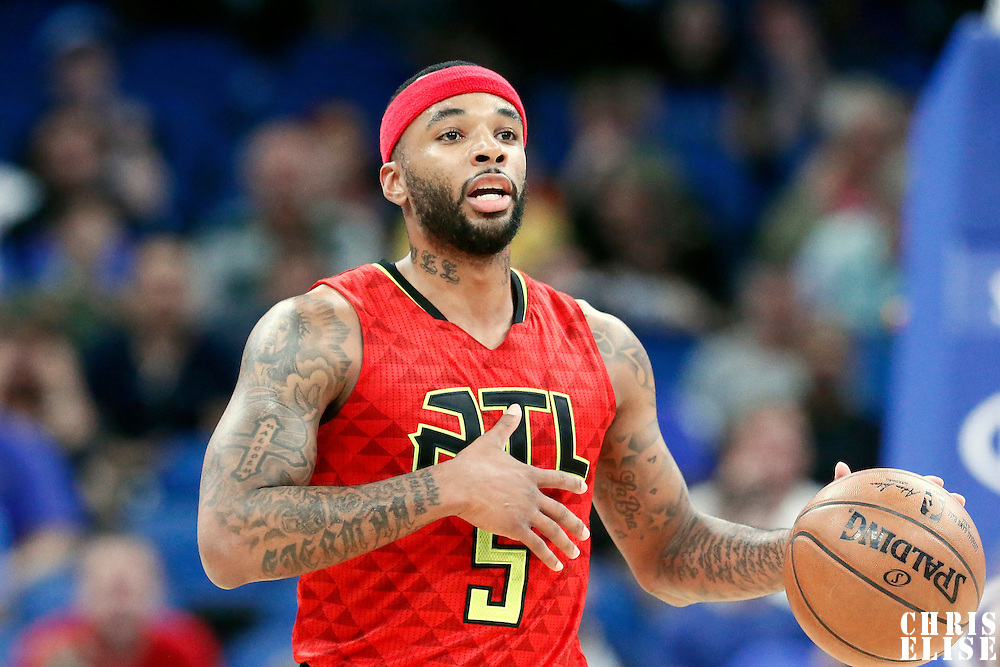 25 February 2017: Atlanta Hawks guard Malcolm Delaney (5) brings the ball up court during the Orlando Magic 105-86 victory over the Atlanta Hawks, at the Amway Center, Orlando, Florida, USA.
