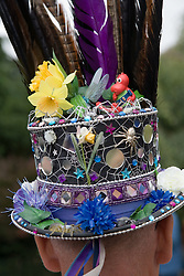 Colourful hat with feathers and flowers; being worn by a Morris man at the Cropredy Festival  Fairport's Cropredy Convention  2005