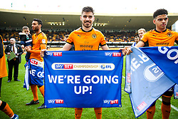 Free to use courtesy of SkyBet. Ruben Neves and the Wolverhampton Wanderers players celebrate at the end of the game after securing automatic promotion from the Sky Bet Championship to the Premier League - Rogan/JMP - 15/04/2018 - Molineux - Wolverhampton, England - Wolverhampton Wanderers v Birmingham City - Sky Bet Championship.
