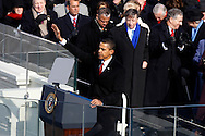 President Barack Obama after his Inaugural address at the swearing in ceremony during the Inauguration on January 20, 2009.  Photograph:  Dennis Brack