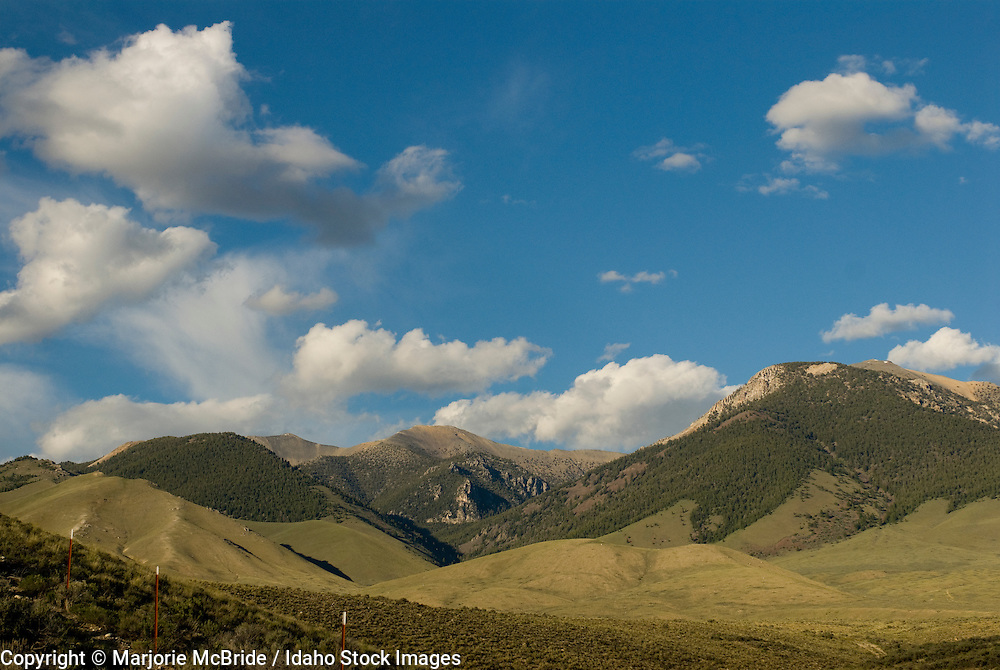 Large clouds form over the Lemhi mountain range in the Little Lost River Valley, Idaho.