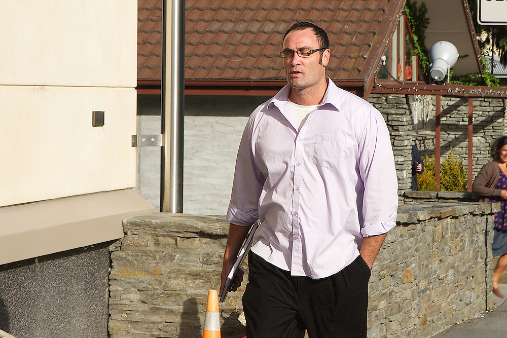 Jonathan Dixon arrives at the Queenstown District Court after allegedly assaulting a bar manager, New Zealand. Monday, January 30, 2012. Credit:SNPA / Teaukura Moetaua