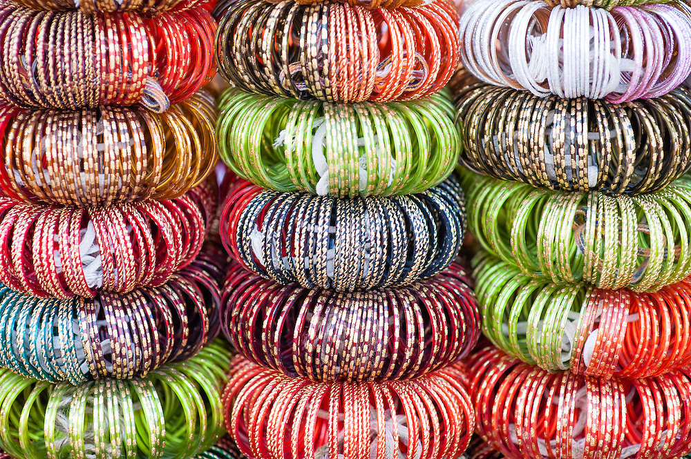 Multitude of colorful bracelets