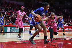 NORMAL, IL - February 10: Viria Livingston dislodges a ball in the possession of Ty Battle during a college women's basketball Play4Kay game between the ISU Redbirds and the Indiana State Sycamores on February 10 2019 at Redbird Arena in Normal, IL. (Photo by Alan Look)
