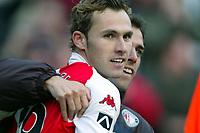 Fotball<br /> Nederland 2003/2004<br /> Foto: Digitalsport<br /> Norway Only<br /> <br /> feyenoord - willem ll ,  26-10-2003,  tomas buffel loopt eerst na antony luhrling na het winnende goal van feyenoord