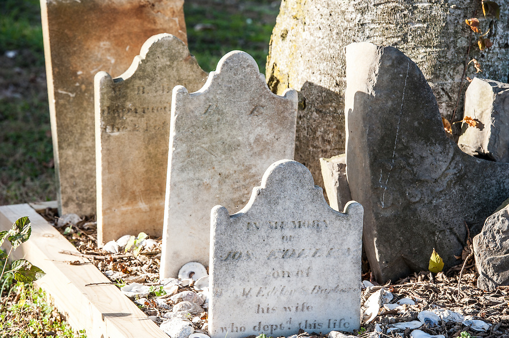 Headstones at a gravesite on a farm in Maryland