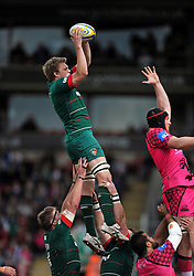 Jamie Gibson of Leicester Tigers wins the ball at a lineout - Photo mandatory by-line: Patrick Khachfe/JMP - Mobile: 07966 386802 25/04/2015 - SPORT - RUGBY UNION - Leicester - Welford Road - Leicester Tigers v London Welsh - Aviva Premiership
