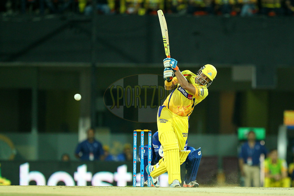 Suresh Raina of Chennai Super Kings during match 47 of the Pepsi IPL 2015 (Indian Premier League) between The Chennai Superkings and The Rajasthan Royals held at the M. A. Chidambaram Stadium, Chennai Stadium in Chennai, India on the 10th May 2015.Photo by:  Prashant Bhoot / SPORTZPICS / IPL