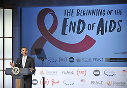 WASHINGTON D.C., Dec. 1, 2011  U.S. President Barack Obama delivers a speech on World AIDS Day during an event titled ''the Beginning of the End of AIDS'', at George Washington University in Washington D.C., capital of the United States, Dec. 1, 2011. Obama announced Thursday that his administration is committing an addition 50 million U.S. dollars in funding for domestic HIV/AIDS treatment and care.       (Xinhua/Zhang Jun) (Credit Image: © Xinhua via ZUMA Wire)