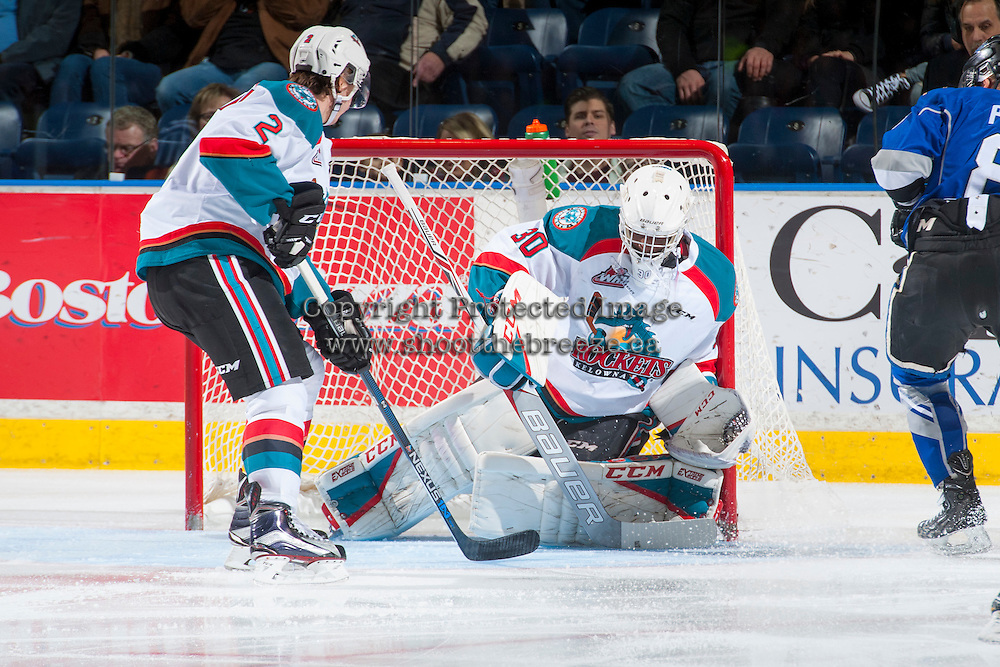 KELOWNA, CANADA - DECEMBER 30: Michael Herringer #30 of the Kelowna Rockets makes a save against the Victoria Royals on December 30, 2016 at Prospera Place in Kelowna, British Columbia, Canada.  (Photo by Marissa Baecker/Shoot the Breeze)  *** Local Caption ***