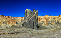 Motocross Ramp: The panoramic view of an angular outcropping of rock makes for an ideal motocross ramp, set under a clear blue sky at Factory Butte, Utah United States of America.