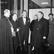 Inauguration of Teilifís Eireann, Montrose..1961..31.12.1961..12.31.1961..31st December 1961..Today saw the inaugeration and official opening of Telifís Éireann. Many dignitaries from the political,religious and entertainment life attended at the ceremony...Archbishop John Charles McQuaid , Mr Eamon Andrews and An Taoiseach Sean Lemass and his wife Kathleen were among the invited digniteries pictured at the station's inaugeration.