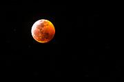 Super blood moon and  lunar eclipse January 20, 2019, Ventura, California USA