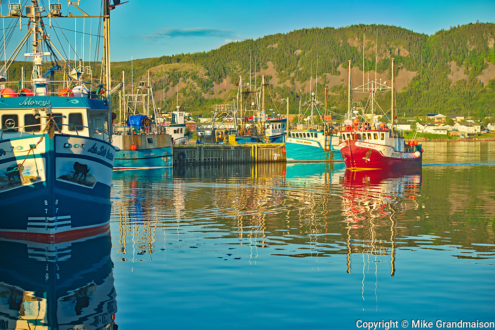 Fishing boats in La Scie Harbour off the Atlantic Ocean. Baie Verte Peninsula.<br />