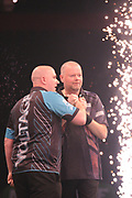 Raymond van Barneveld, 2014 Premier League champion & five-time World Champion and Rob Cross, 2018 World Champion. Premier League debutant  during the Unibet Premier League Darts Night 13 competition at the Manchester Arena, Manchester, United Kingdom on 26 April 2018. Picture by Mark Pollitt.