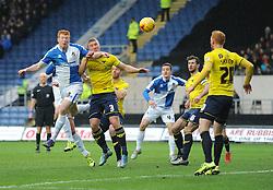 Rory Gaffney of Bristol Rovers heads towards goal. - Mandatory byline: Alex James/JMP - 17/01/2016 - FOOTBALL - The Kassam Stadium - Oxford, England - Oxford United v Bristol Rovers - Sky Bet League Two
