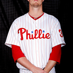 February 22, 2011; Clearwater, FL, USA; Philadelphia Phillies starting pitcher Kyle Kendrick (38) poses during photo day at Bright House Networks Field. Mandatory Credit: Derick E. Hingle