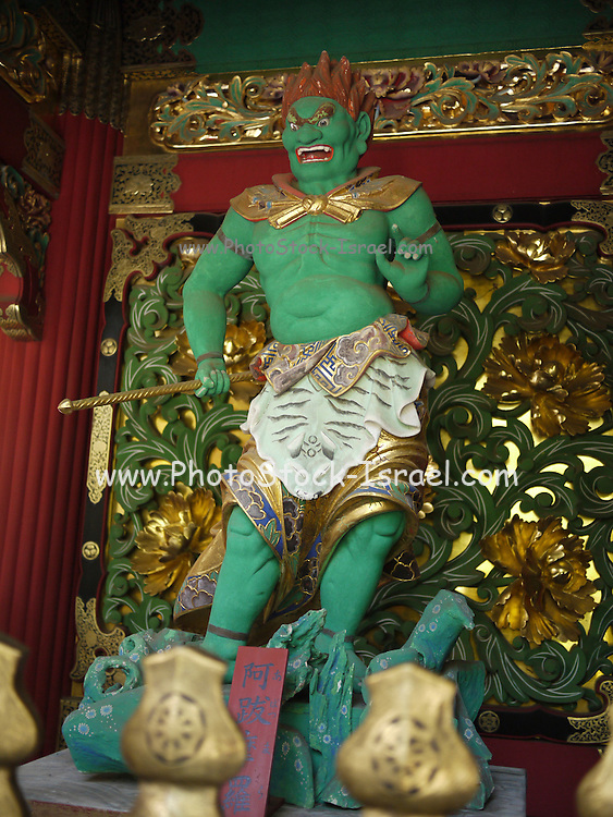 Japan, Tochigi, Nikko, Tosho-gu shrine The Green guardian wooden sculpture