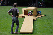 "Skulptur Projekte Muenster 4..""Roman de Muenster (Muenster Roman/A Muenster Novel)"", 2007 by Dominique Gonzalez-Foerster. Miniature copies of sculptures deployed for former Skulptur Projekte Festivals."