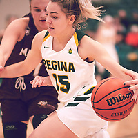 1st year guard, Madeleine Tell (15) of the Regina Cougars during the Women's Basketball Home Game on Fri Nov 30 at Centre for Kinesiology,Health and Sport. Credit: Arthur Ward/Arthur Images