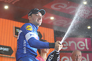 131 Elia Viviani Quick-Step Floors celebrates his win during stage 17 of the Giro D'Italia, Iseo Italy on 23 May 2018. Picture by Graham Holt.