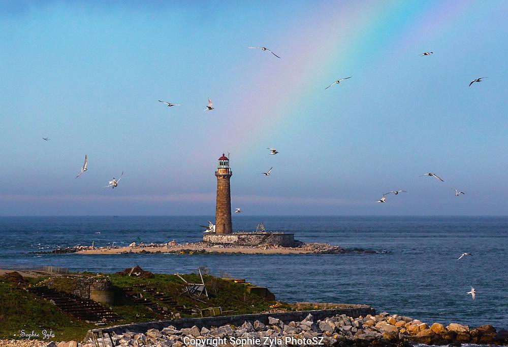 Little Gull Lighthouse Rainbow