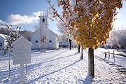 New snowfall, early winter in E. Dorset Village, VT