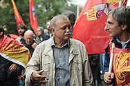 Contestazione al Jobs Act di Matteo Renzi. Manifestazione della Fiom. Gianni Rinaldini. Milano, 8 ottobre 2014.