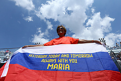 May 18, 2018 - Rome, Italy - A Sharapova supporter with a russian flag at Foro Italico in Rome, Italy during Tennis WTA Internazionali d'Italia BNL quarter-finals on May 18, 2018. (Credit Image: © Matteo Ciambelli/NurPhoto via ZUMA Press)