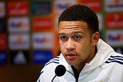 LIVERPOOL, ENGLAND - Wednesday, October 18, 2017: Olympique Lyonnais Memphis Depay during a press conference at Goodison Park ahead of the UEFA Europa League Group E match against Everton. (Pic by David Rawcliffe/Propaganda)