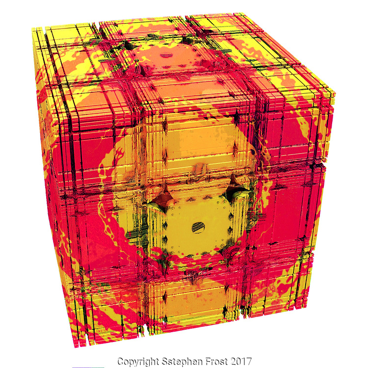 Box with face of a girl or child, perhaps suggestive of Pandora's Box.<br /> This image is purely digital using fractals.
