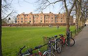View over bicycles to Queens College, Cambridge university, Cambridge, England