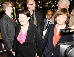 Scottish Conservative leader Ruth Wilson arrives at the count in Edinburgh with her partner Jen Wilson.<br /> © Dave Johnston/ EEm