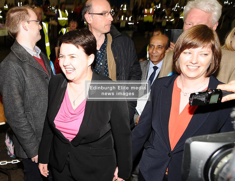 Scottish Conservative leader Ruth Wilson arrives at the count in Edinburgh with her partner Jen Wilson.<br /> © Dave Johnston/ EEm