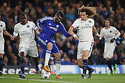 Chelsea striker Diego Costa (19) trying to create a chance during the Champions League match between Chelsea and Paris Saint-Germain at Stamford Bridge, London, England on 9 March 2016. Photo by Matthew Redman.