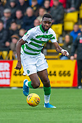 Odsonne Edouard (#22) of Celtic FC sprints forward during the Ladbrokes Scottish Premiership match between Livingston FC and Celtic FC at The Tony Macaroni Arena, Livingston, Scotland on 6 October 2019.