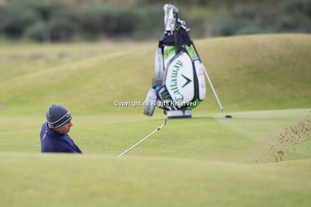 4th October 2017, The Old Course, St Andrews, Scotland; Alfred Dunhill Links Championship, practice round; Matteo Manassero of Italy plays from a greenside bunker on the 5th hole on the Old Course, St Andrews during a practice round before the Alfred Dunhill Links Championship