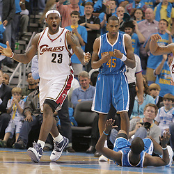 01 November 2008:  Cleveland Cavaliers forward LeBron James (23) reacts to an officials call for charging during a 104-92 win by the New Orleans Hornets over the Cleveland Cavaliers at the New Orleans Arena in New Orleans, LA..