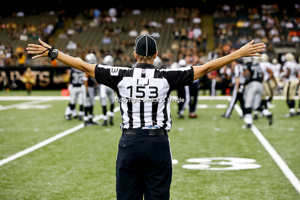 Aug 16, 2013; New Orleans, LA, USA; NFL developmental official Sarah Thomas during the second half of a preseason game between the New Orleans Saints and the Oakland Raiders at the Mercedes-Benz Superdome. The Saints defeated the Raiders 28-20. Mandatory Credit: Derick E. Hingle-USA TODAY Sports