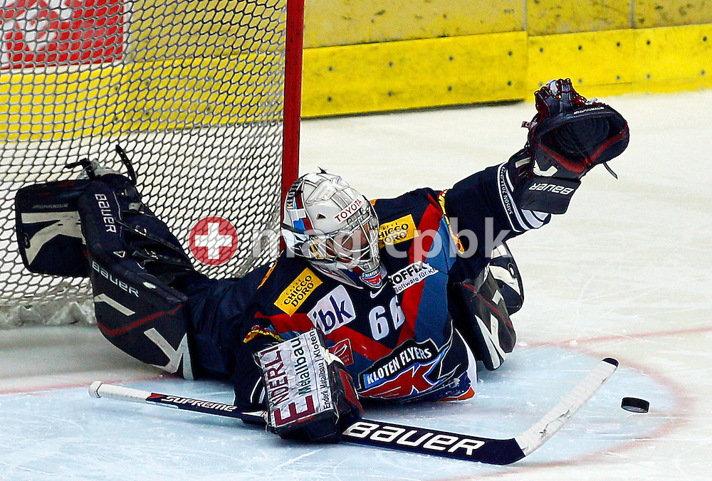 Kloten Flyers goaltender Ronnie Rueeger is pictured during ice hockey game of the Swiss National League A (Season 2011-2012) between Kloten Flyers and EV aug (EVZ) held at the Kolping Arena in Kloten, Switzerland, Friday, Sept. 30, 2011. (Photo by Patrick B. Kraemer / MAGICPBK)