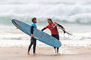 Ben Skinner (UK) and Frederico Nesti (ITA) congratulate each other on a tough heat. Nesti beat Skinner by the slimmest of margins to progress to the next round of the Boardmasters Longboard Pro at Fistral Beach, Newquay, Cornwall, United Kingdom on 10 August 2019.
