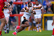 Bradford Bulls winger Iliness Macani (5) in action  during the Kingstone Press Championship match between Dewsbury Rams and Bradford Bulls at the Tetley's Stadium, Dewsbury, United Kingdom on 4 June 2017. Photo by Simon Davies.