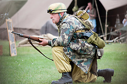"Reenactor of the NWW2A Portraying a member of the ""Green Devils"" during a battle reenactment at Fort Paull on Sunday ..5 May 2013.Image © Paul David Drabble"