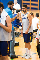 FEB President Jorge Garbajosa and Juan Carlos Navarro during the Spain training session before EuroBasket 2017 in Madrid. August 02, 2017. (ALTERPHOTOS/Borja B.Hojas)